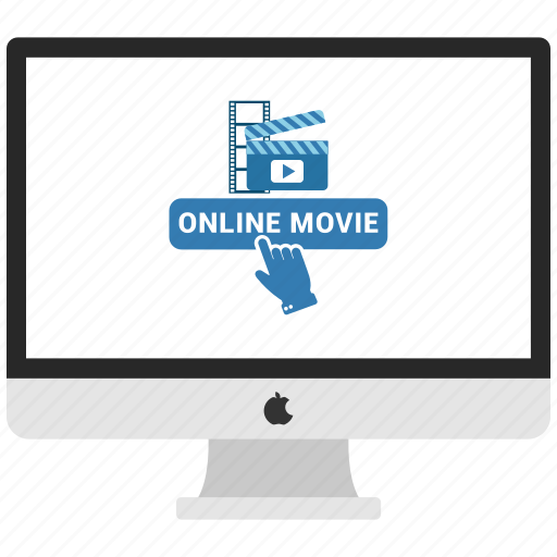 click, computer, monitor, online movie icon