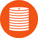 coins, dollar, finance, money icon