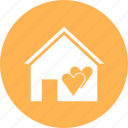 apartment, building, heart, home, house icon