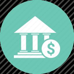 bank, building, dollar, finance icon