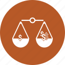 balance, choice, decision, dollar, law, scale icon