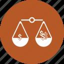 balance, choice, decision, dollar, law, scale