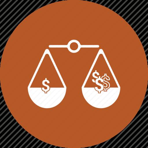 balance, choice, decision, dollar, law, scale icon
