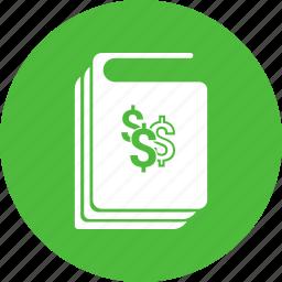 book, business, dollar, guidelines, handbook, manual icon