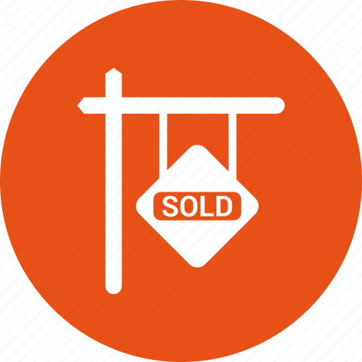 apartment, building, home, house, property, sign, sold icon