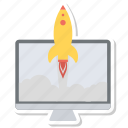 blue, computer, connnected, fast, rocket, startup icon