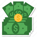 bill, coine, dollar, money