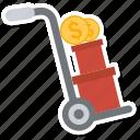 box, coin, dollar, trolley