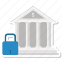 bank, building, finance, lock icon