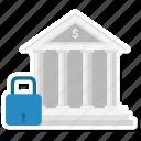 bank, building, finance, lock