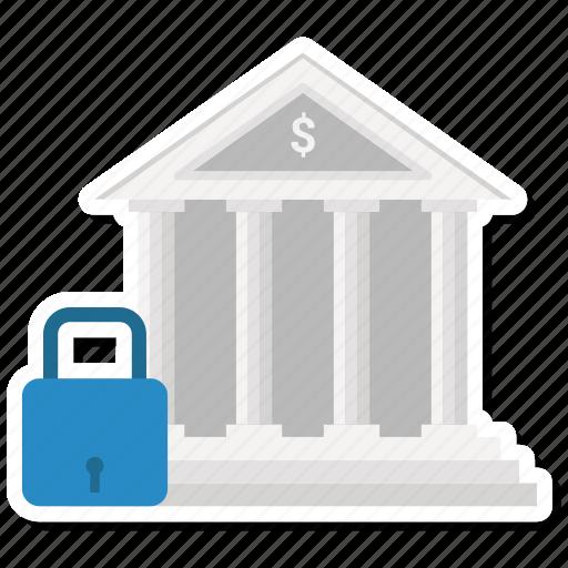 bank, building, finance, lock icon