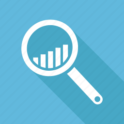 bar chart, bar graph, infographics, search icon