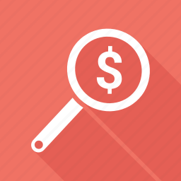 dollar, find, profit, search icon