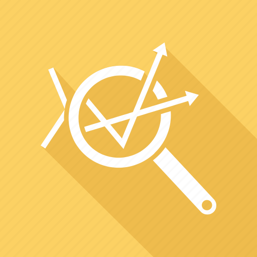 analysis, graph, growth, magnifying glass icon