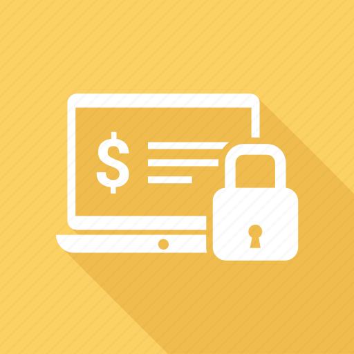 computer, device, dollar, laptop, laptop computer, lock icon
