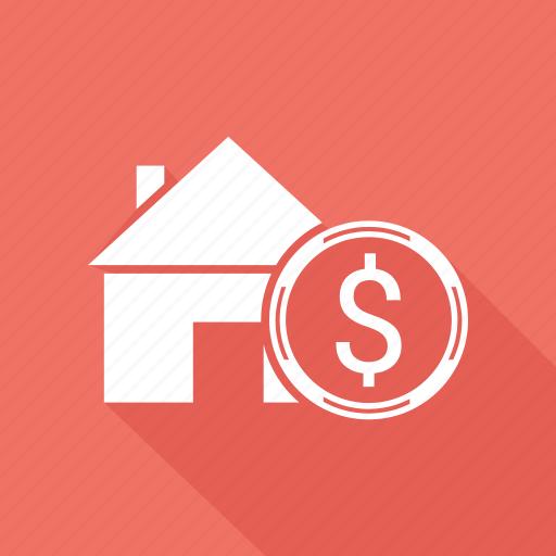 coin, dollar, home, house icon