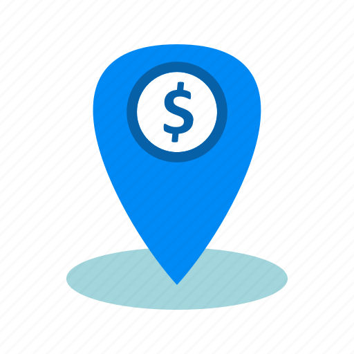dollar, location, pin icon