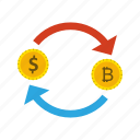 bitcoin, dollar, exchange, money icon