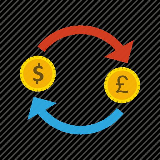 dollar, exchange, money, pound icon