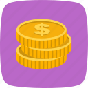 coins, currency, dollar, gold icon