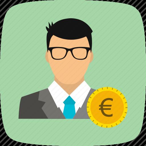 avatar, euro, man, user icon