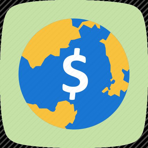 dollar, globe, money, world icon