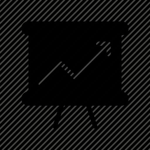 arrow, board, growth, increase, presentation icon