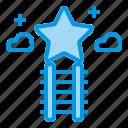 dream, ladder, sky, star, success icon