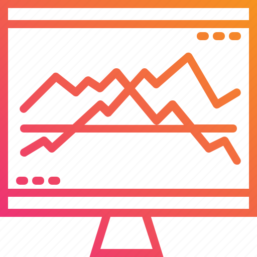 chart, computer, gradient, graph, growth, monitor, trend icon
