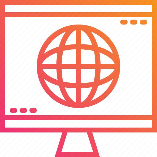 computer, global, gradient, internet, monitor, trend, worldwide icon