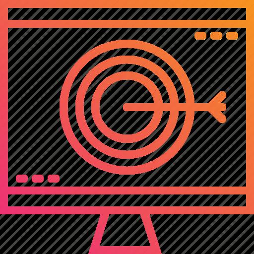 computer, digital, goal, gradient, marketing, pc, target icon