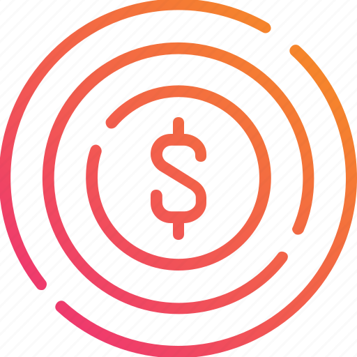 business, currency, dart, dollar, finance, gradient, target icon
