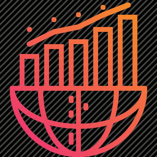 analysis, chart, diagram, globe, gradient, graph, growth icon
