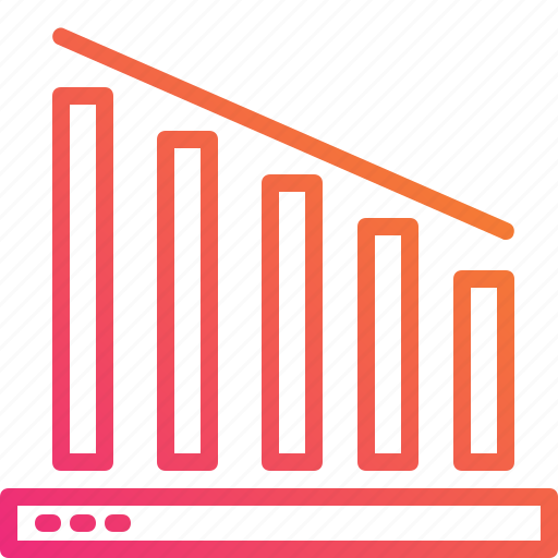 business, chart, down, gradient, graph, statistics, trading icon