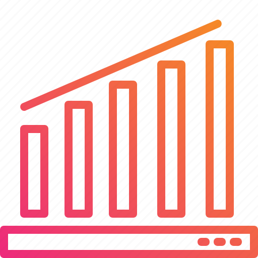analytics, business, chart, gradient, graph, growth, trading icon