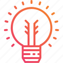 creative, electricity, gradient, ideas, light, lightbulb, power icon
