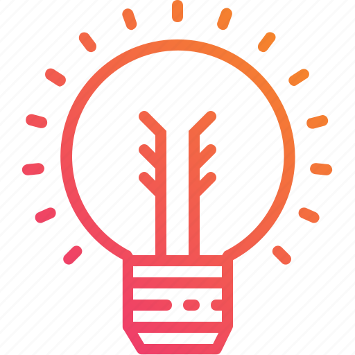 creative, electricity, gradient, ideas, light, lightbulb, power icon