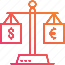 balance, dollar, euro, exchange, gradient, money, scales icon