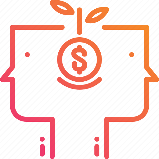 business, dollar, finance, gradient, growth, money, people icon