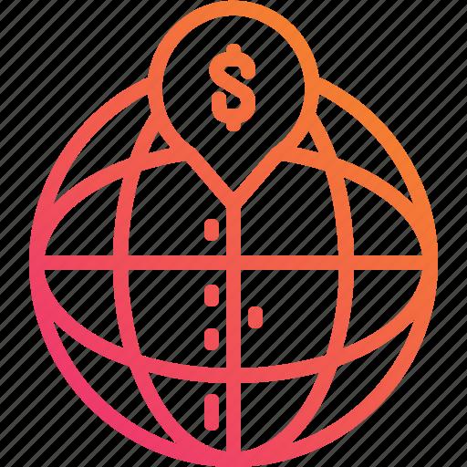 dollar, globe, gradient, location, money, pin, world icon