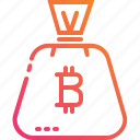bag, bitcoin, coin, digital, gradient, money, financial
