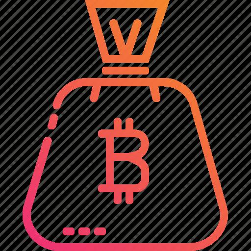 bag, bitcoin, coin, digital, financial, gradient, money icon