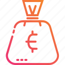 bag, coin, currency, euro, finance, gradient, money icon