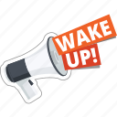 business, communication, loudspeaker, megaphone, wake up icon