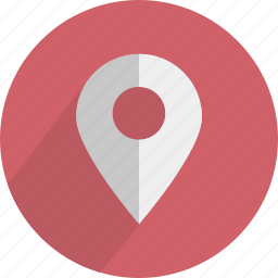 arrow, location, map, marker, pointer, red icon