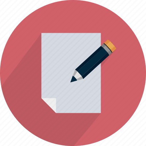 document, edit, enter, page, pencil, red icon