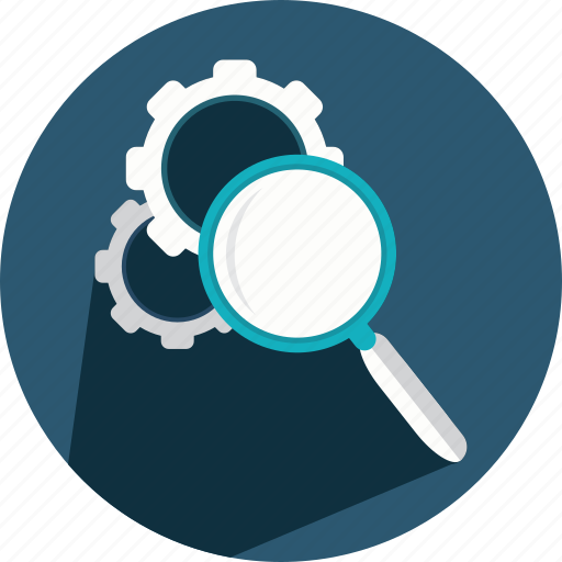 cogwheel, engine, gear, glass, loupe, magnifying, search icon