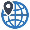 global, location, map pin, navigation icon