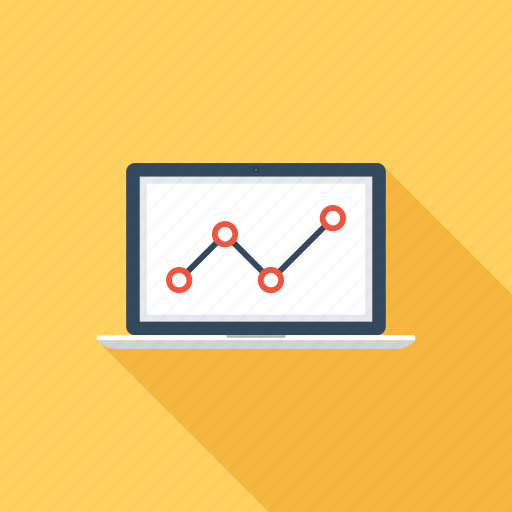 analytics, chart, computer, graph, laptop, monitoring, statistics icon