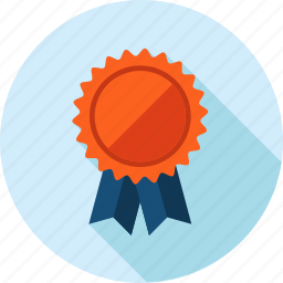 award, flat design, long shadow, offer, recommendation icon